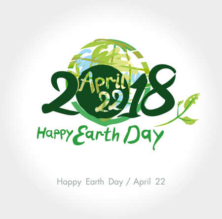 Happy Earth Day. 22 April. 2018. Painted planet and handwritten template. Vector illustration. Çizim