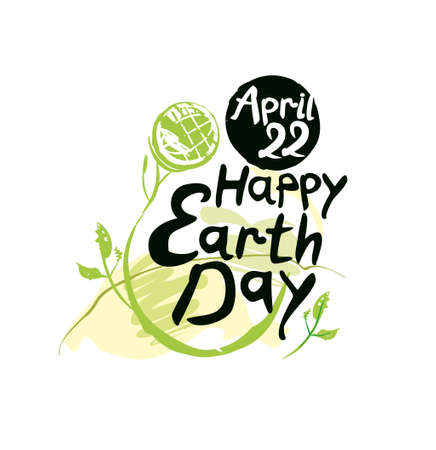 Happy Earth Day. Art lettering template. Earth day, 22 April. Painted picturesque Earth globe on a long green stalk and handwritten inscription. Vector illustration.