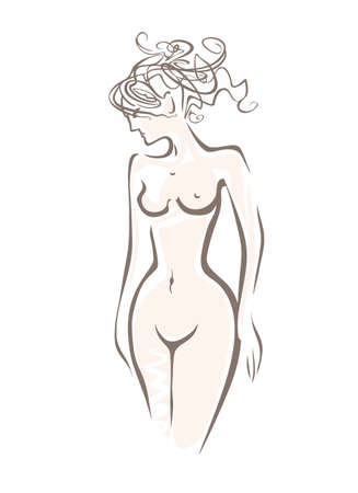 Beautiful naked sexy woman with upwardly carelessly curly hair. Sketch vector illustration of beauty, health, grace, attraction.