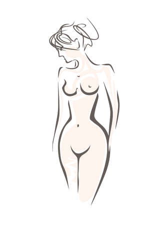 Beautiful naked sexy woman with upwardly hair. Sketch vector illustration of beauty, health, grace, attraction. Ilustração