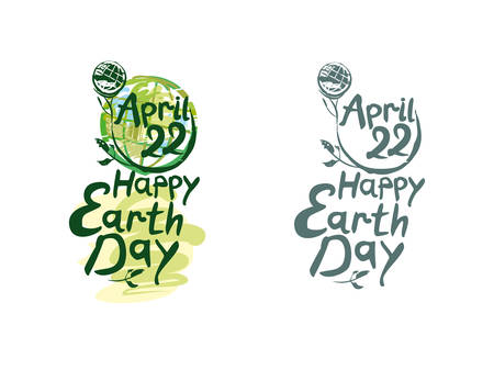 Happy Earth Day. Two options lettering template. Earth day, 22 April. Painted picturesque Earth globe on a long green stalk and handwritten inscription. Vector illustration. Çizim