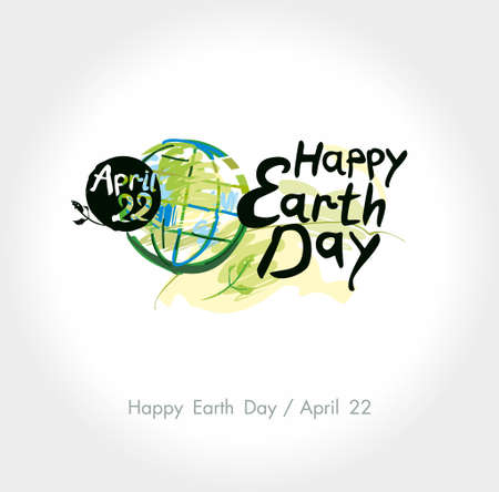 Happy Earth Day hand lettering template.  Painted planet on and handwritten words.