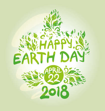 Happy Earth Day. April 22, 2018. Hand draw inscription and lush foliage. Vector green thematic background. Çizim