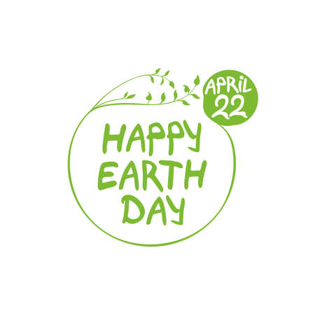Concept Happy Earth Day. April 22. Round green vector template hand drawn lettering isolated on white background.