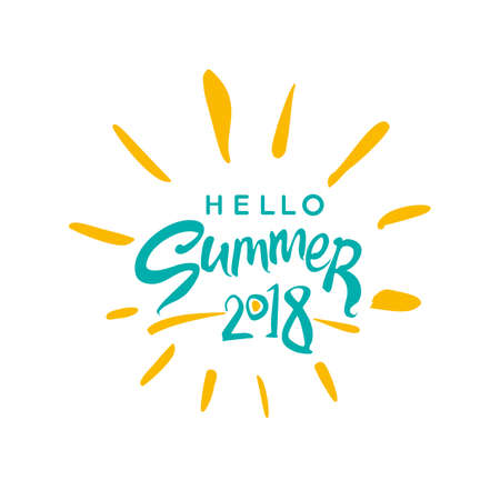 Vector lettering template Hello Summer 2018 and rays of the sun.