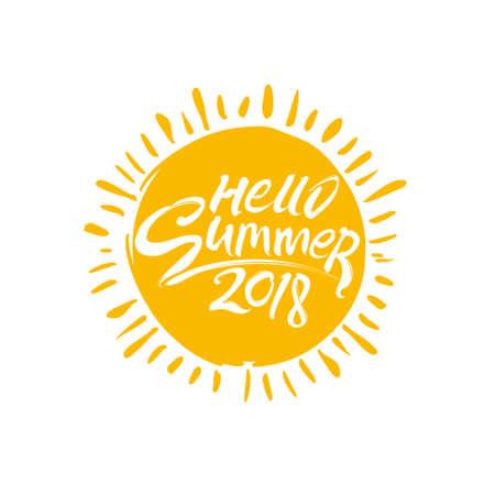 Solar symbol Summer 2018. Round vector template.