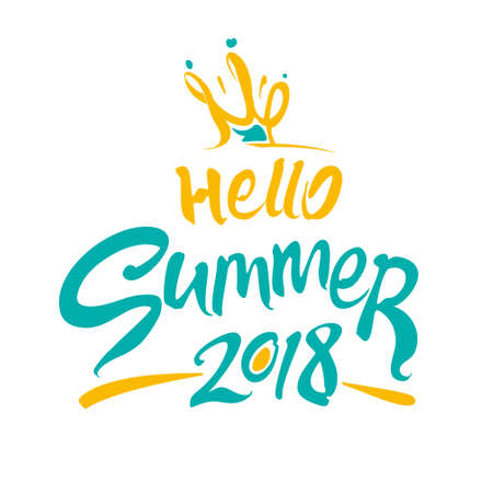 Hello Summer 2018. Yellow and turquoise color summer logo. Inscription and a funny solar princess crown. Vector lettering template. Ilustração