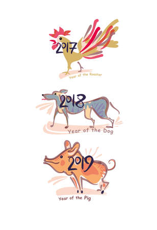 Pig 2019 Dog 2018 Rooster 2017 Painted Symbols Of The Years