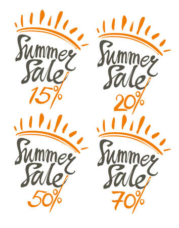 Summer Sale. Four isolated vector templates summer discount 15%, 20%, 50%, 70% Ilustração