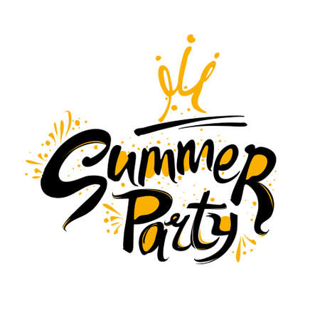 Summer Party Logo. Template for the seasonal themed party. Handwritten font and crown vector pattern. Ilustracja