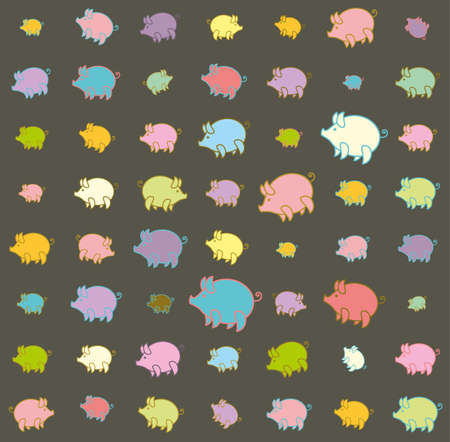 Piglets large and small funny colored against a dark background. Seamless pattern with cartoon pig.