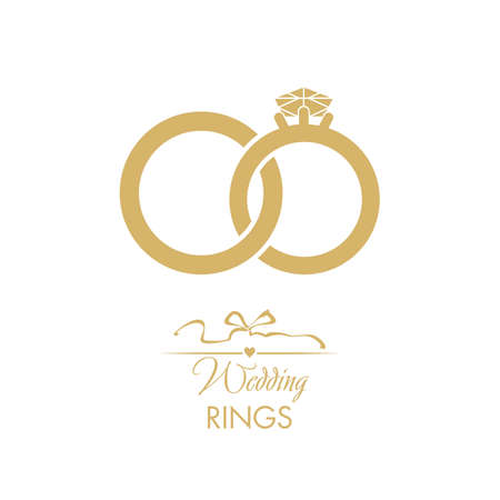 Wedding logo. Gold wedding rings. Attributes and decoration ceremony. The symbol of faith, love, care, happiness, mutual understanding, strength. Stock Vector - 104589485