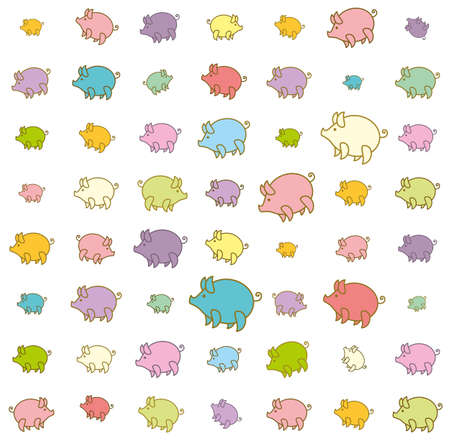 Piglets large and small funny colored. Background with cartoon pig. Illustration