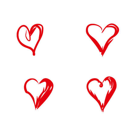 Set of four hand drawn doodle hearts. A red hearts drawn by a free hand. Flat vector template. Illustration