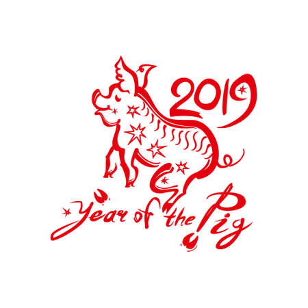 Red vector template Pig 2019. New Year card. Chinese calendar for the year of pig.