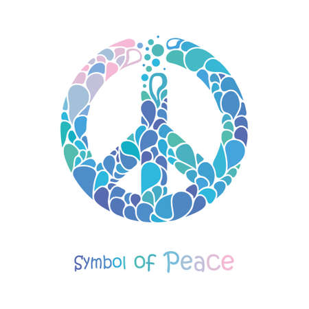 Symbol of peace. Peace sign drawing consists of bright drops. International Day of Peace.