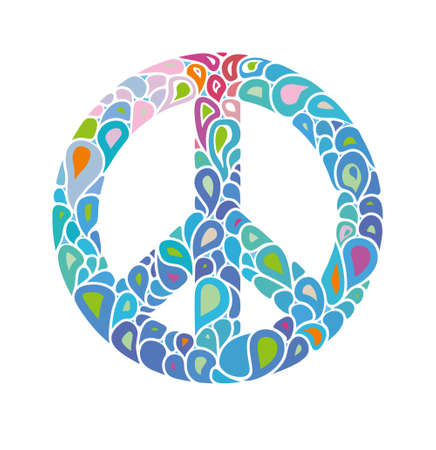 Symbol of peace. Peace sign consists of bright bubbles drops. International Day of Peace. Ilustração