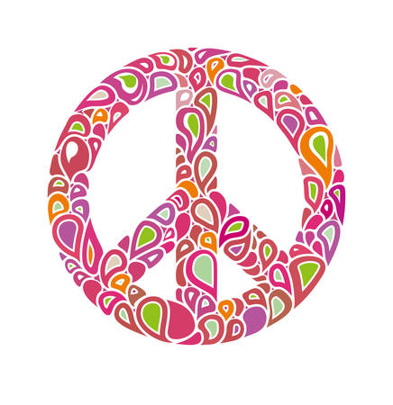 Symbol of peace. Peace sign consists of bright multicolored bubbles drops. International Day of Peace.
