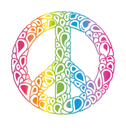 Symbol of peace. Peace sign consists of rainbow bubbles drops. International Day of Peace.