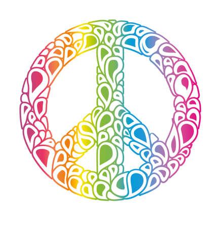 Symbol of peace. Peace sign consists of rainbow bubbles drops. International Day of Peace. Ilustração Vetorial