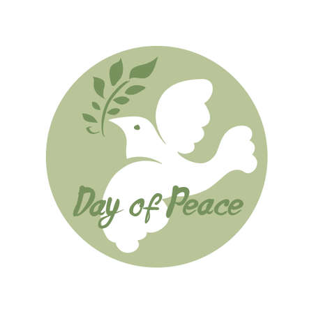 Day of Peace. White dove with green branch. Round vector template. Flat design.
