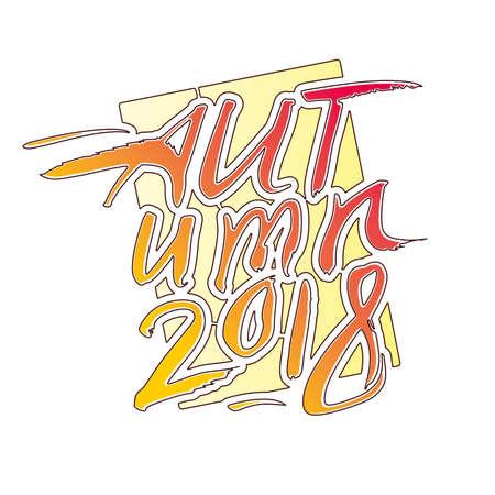 Autumn 2018. Calligraphic seasonal logo. Vector template isolated on white background.