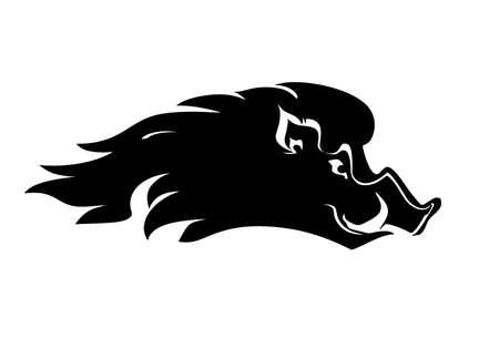 Boar profile head icon. Flat vector template boar head isolated on white.