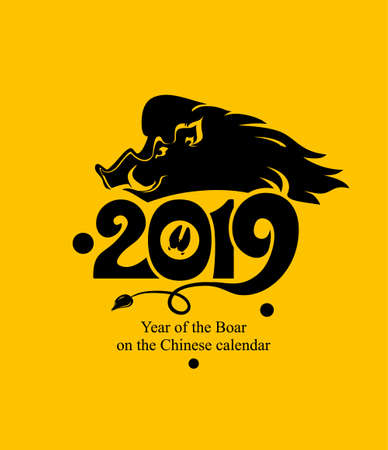 Year of the Boar 2019. Flat black template on yellow background. New Year's design on the Chinese calendar. Vector illustration.