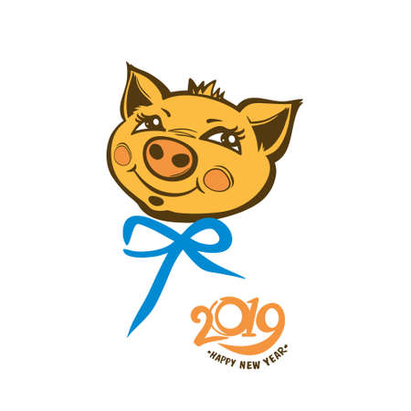 Year of the Pig 2019. Portrait of a cute yellow pig with blue bow. Vector pattern.
