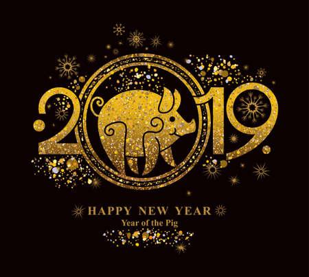 Golden symbol on black Pig 2019 in the Chinese calendar. Golden Pig.