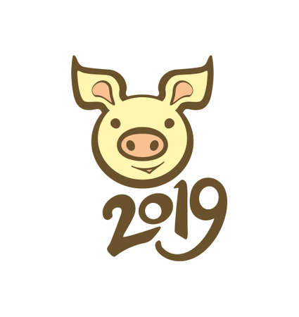 Year of the Pig 2019. Vector template piggy head smiling. Flat design.