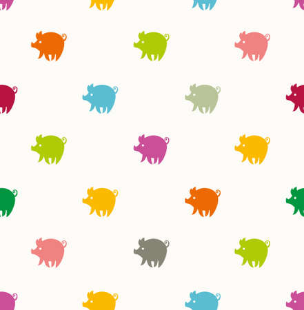 Animalistic background cartoon colored piglets. Cute seamless pattern with multicolored pigs. Illustration