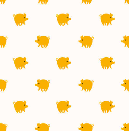 Funny cartoon pigs. Cute seamless pattern with yellow piglets.