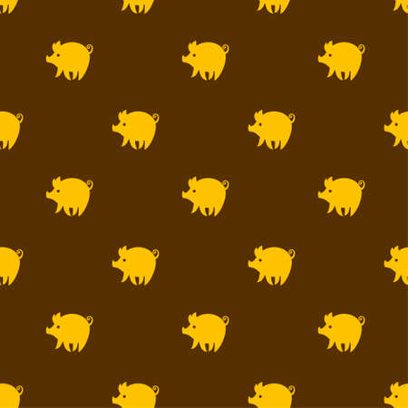 Yellow piglets on chocolate brown background. Funny cartoon pigs. Cute seamless pattern with yellow pig.