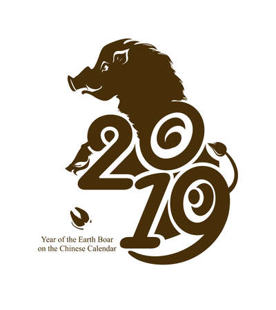 Year of the Boar 2019. Pig 2019. Stylish flat vector template isolated on white background. New Years design on the Chinese calendar.