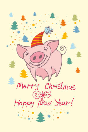 Cute Greeting Card With A Pretty Pig. Merry Christmas & Happy ...