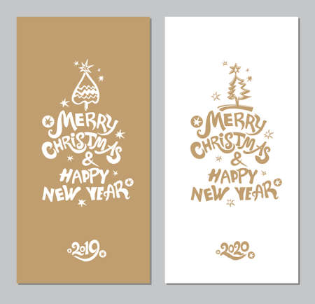 Merry Christmas & Happy New Year! Xmas tree and snow. Vector template for the 2019, 2020 New Years.