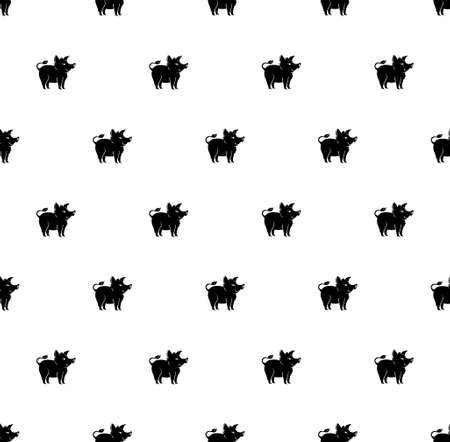 Animal seamless pattern black pig boars. Pattern with cartoon silhouette pig.