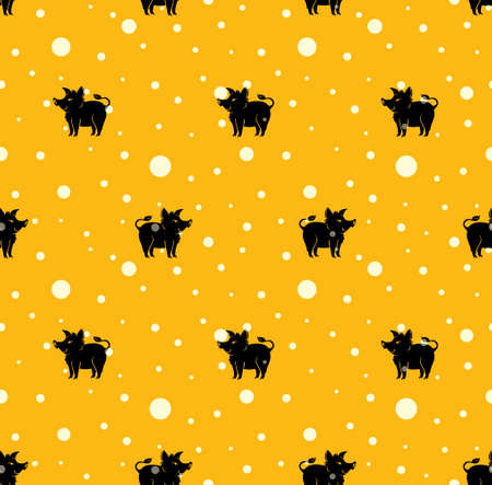 Animal seamless pattern with a black background with yellow polka dots. Pattern with cartoon silhouette pig.
