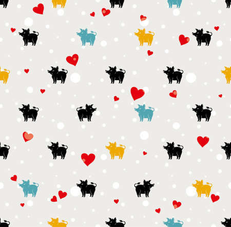 Holiday background with snow and hearts. Pattern with cartoon silhouette pig.