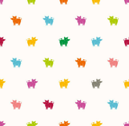 Funny colorful piglets boars against a pale background. Pattern with cartoon pig.