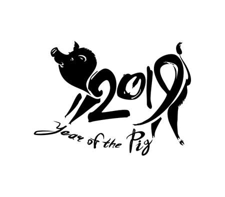 Boar Pig 2019. Handwritten template with the 2019 and pig. Black template isolated on white. Imitation of painting with brush and ink. New Year on the Chinese calendar.