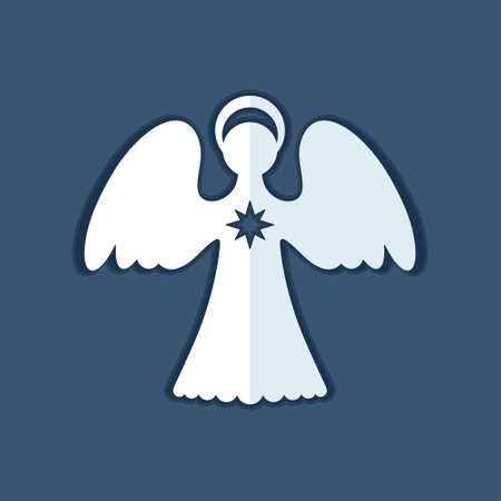 White paper on a dark blue background. Decor angel is a simple form for cutting. Symmetrical static silhouette can be used for different designs. Archivio Fotografico - 114130848