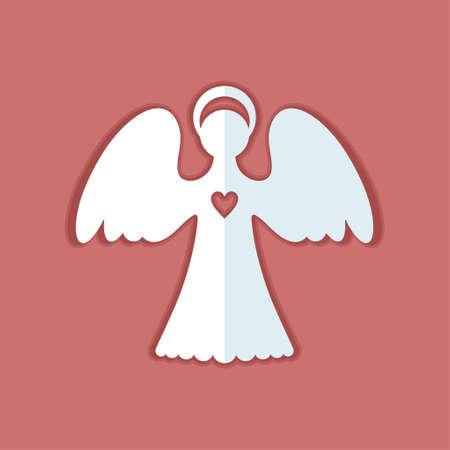 Ángel de papel blanco con un corazón sobre un fondo rojo terracota. El ángel decorativo es una forma sencilla de cortar. La silueta estática simétrica se puede utilizar para diferentes diseños. Ángel de Navidad con corazón. Ilustración de vector