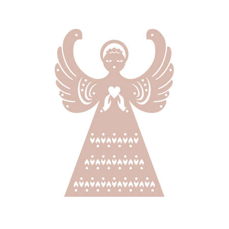 Beautiful Decor Angel. Christmas angel with heart. Paper angel is form for cutting. Plywood angel. Symmetrical static silhouette can be used for different designs. Archivio Fotografico - 114130853