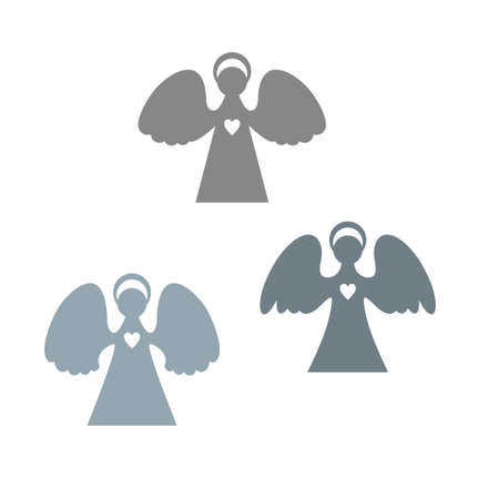 Three angels cut patterns. Paper angels is a simple form for cutting. Christmas angels with a heart.