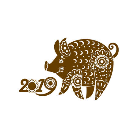 Stylized Pig richly decorated with ornaments. Decorative symbol 2019. Year of The Earth Pig. Chinese New Year pattern.