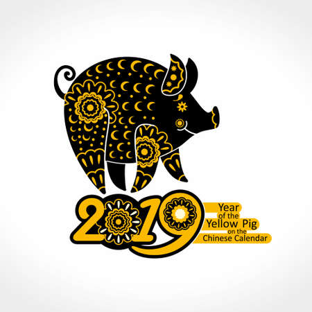 Stylized Pig richly decorated with ornaments. Decorative symbol 2019. Yellow Pig. Chinese New Year pattern.