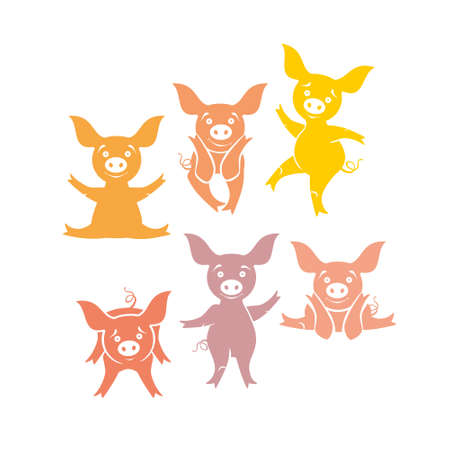 Six funny pigs. cartoon piggy movement.