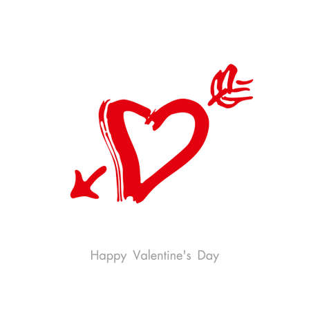 Heart arrow. Sketch illustration for Valentine's day. Vector graphics with a dry brush.